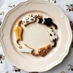 Cat Cookies, Fancy Cookies, Royal Icing Cookies, Cute Baking, Kawaii Dessert, Cat Cafe, Fancy Desserts, Japanese Sweets, Cafe Food