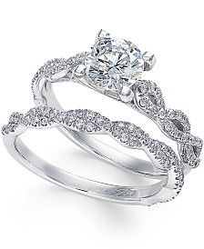 X3 Certified Diamond Engagement Ring Set (1-3/8 ct. t.w.) in 18k White Gold