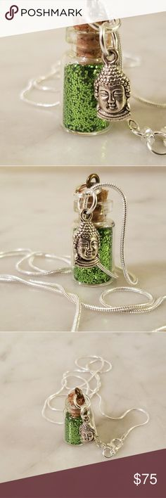 """.925 Sterling Silver, Buddha Pixie Bottle Necklace 925 Sterling Silver snake chain 24"""" in length with a glass pixie dust bottle filled with Bright green glitter and a pewter Buddha head charm.   Magen's Fairytale Creations original handmade by me. Magen's Fairytale Creations Jewelry Necklaces"""