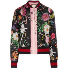 Gucci Printed silk-satin bomber jacket (119.535 RUB) ❤ liked on Polyvore featuring outerwear, jackets, bomber jacket, gucci, bomber, multi colored jacket, gucci jacket, multi-color leather jackets and zip bomber jacket