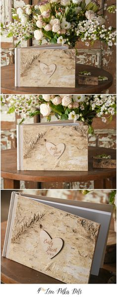 Birch Bark Wooden Wedding Guest Book with custom engraving #wood #birchbark #rustic #weddingideas #rusticwedding #birchbark #engraved #weddingbook #keepsake #gift