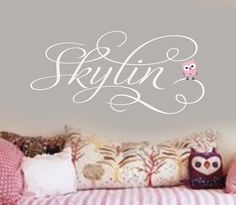 Personalized GIrls Name with little baby owl Vinyl Wall Lettering Decal LARGE Cute Baby Names, Unique Baby Names, Baby Girl Names, Kid Names, Star Nursery, Nursery Room, Baby Room, Nursery Decor, Name Wall Decals