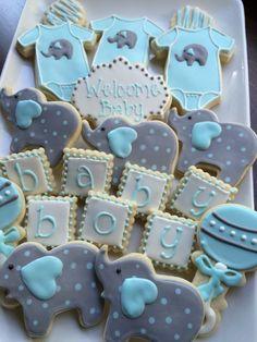 baby shower cookies, decorated cookies, baby boy,elephant cookies