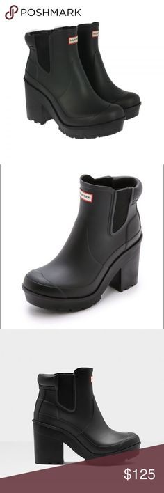 """Hunter Chelsea block heel rain boots A Chelsea-cut version of Hunter's Original boot is styled with a smooth matte finish and set on a chunky block heel. Quick-dry lining and a cushy footbed lend superior comfort to this premium rubber rain boot, while a signature grippy sole provides excellent traction. 3 1/2"""" heel; 1"""" platform  4 1/4"""" boot shaft height. Elastic side goring. Used several times, excellent like new condition. Hunter Boots Shoes Winter & Rain Boots"""