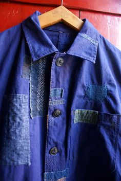 upcycled  vintage work jacket, mended and patched with antique japanese cottons