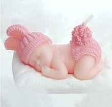 Petit bébé forme d'anniversaire bougie souhaits artisanat bougie s d'anniversaire pour babys Creative cadeaux pas smog , mais avec parfum(China (Mainland))