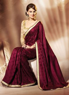 Charming Maroon Lace Border Work Jacquard Wedding Saree