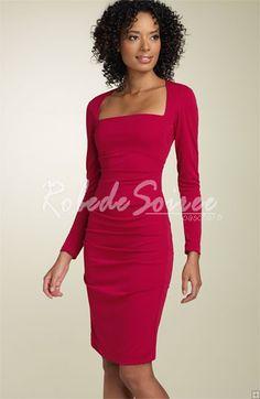 à manches longues jersey mat robes fourreau rouge Cocktail