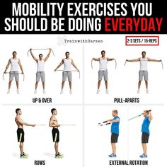 Mobility Exercises You Should Be Doing Everyday _Maintaining proper posture is crucial to achieving any goal in the gym. Poor posture leads to faulty movement and a greater risk of injury. Rotator Cuff Exercises, Posture Exercises, Back Exercises, Shoulder Mobility Exercises, Abdominal Exercises, Preparation Physique, Cardio Boxing, Home Workout Equipment, Workout Plan For Women