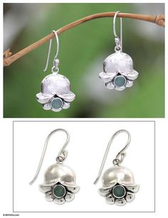 Emerald and Sterling Silver Dangle Earrings - May's Lily of the Valley | NOVICA