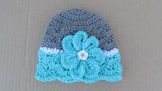 Crochet Fancy Flower Hat, Baby Photo Prop, Baby Girl Clothes, Toddler Flower Hat, Newborn Girl Beanie, Baby Skull Cap, Spring Hat, Teal by TheFlyButterFactory on Etsy