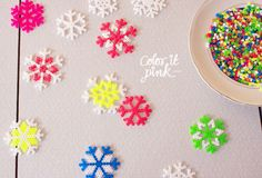 DIY Perler Bead Snowflakes from Color It Pink here.