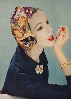Lucinda Hollingsworth, September Vogue 1957 Wearing a side draped panne beret from Mr John.