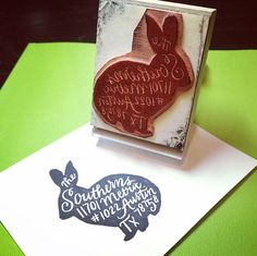 Introducing my newest item... a custom address stamp in the shape of a rabbit! I will hand-letter your address to fit perfectly into this rabbit