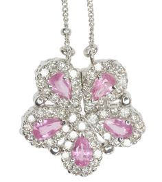 Diamond and Pink Sapphire Gemstone Convertible 14ct White Gold Necklace