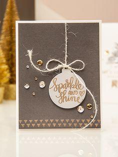 "Yana Smakula | December 2014 Simon Says Stamp Card Kit - replace ""sparkle & shine"" with ""merry Christmas"""