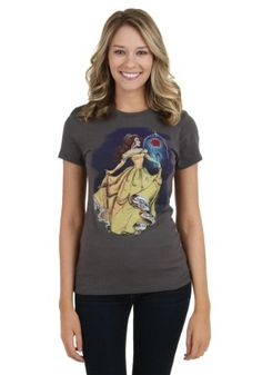 This is a juniors t-shirt featuring an illustrated style print of Disney's Belle from Beauty and the Beast.