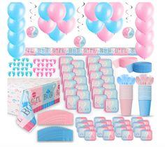 40Pcs Boy Girl Baby Shower Gender Reveal Party Decor Set Tableware Banner Plate