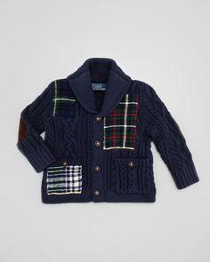 Ralph Lauren Childrenswear Shawl-Collar Patchwork Cardigan, 9-24 Months