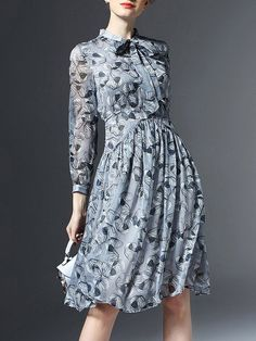 Light Blue Floral 3/4 Sleeve Chiffon V Neck Midi Dress