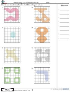 Area & Perimeter Worksheets. Area of irregular geometric shapes. Variety of kid's math printable worksheets with answers for elementary & junior high. DIY education.