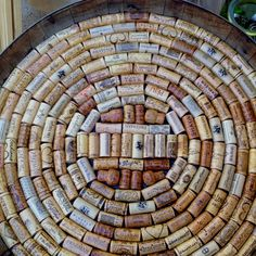 Wine barrel top decorated in corks