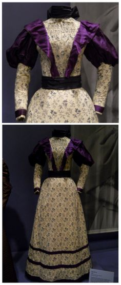 "The 1896 Day Dress  Here's a lovely late-Victorian day dress made from a charming cotton print that reminds me very much of a ""Laura Ashley"" design.  The striking purple silk twill makes a lovely contrast for the more subdued cotton fabric, and it would be a wonderful dress to wear in colder weather – that is, if you have a 24.5″ waist!"