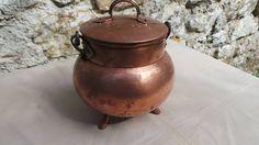Vintage French Copper Cauldron Faitout Marmite Stock Pot Cauldron Pure Copper With Lid and Legs Vintage Copper Pot Copper with Iron Handle by CopperAntiquity on Etsy
