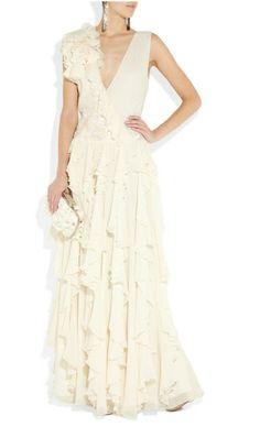 Silk ruffle gown