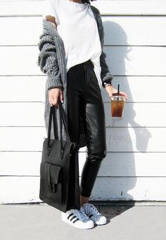 Details: Long Sleeve Loose Knit Cardigan  c/o Shein | Christian Paul Watch  | F21 Distressed Trim Tee | New Monday Bag  c/o LO...