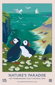 London design agency Hatched brought back the nostalgic travel poster design style with these Pembrokeshire coast national park summer and autumn campaigns. Retro Poster, Vintage Poster, Vintage Travel Posters, Vintage Postcards, Posters Uk, Railway Posters, Party Vintage, Vintage Diy, Pembrokeshire Coast
