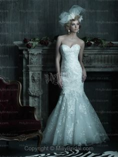 Trumpet/Mermaid Sweetheart Embroidery Lace Chapel Train Wedding Dress