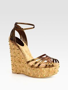 Cecyl Metallic Leather Studded Wedges - these will be stalked!