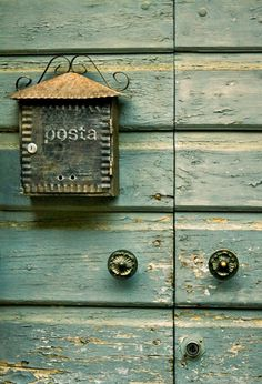 old post box on a weathered door in some foreign country -- Hungary, perhaps? Old Mailbox, Vintage Mailbox, Metal Mailbox, Knobs And Knockers, Door Knobs, Old Doors, Windows And Doors, Antique Doors, Post Bus