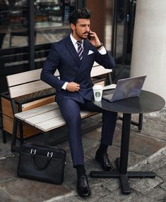 Pinstripe suit, street style suit, classy suits, formal attire for men, men Der Gentleman, Gentleman Style, Double Breasted Pinstripe Suit, Navy Pinstripe Suit, Street Style Suit, Best Casual Shirts, Formal Attire For Men, Bon Look, Classy Suits