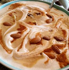 big ol' bowl of maple nutty goodness - One scoop PE Science Snickerdoodle protein, 1 cup cashew milk, 2 cups ice, maple extract, cinnamon, sea salt, and 1 tsp xanthan gum, blended until thick and creamy. Topped with Mixed Nut Butter from Trader Joe's combined with Walden Farms pancake syrup and more sea salt, cinnamon, walnuts and almonds.