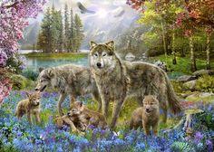 Spring Wolf Family - Fototapeter & Tapeter - Photowall