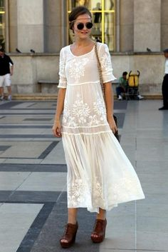 bohemian chic street style ivory lace