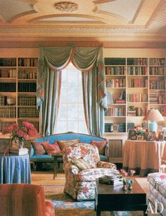 """I tried to create what takes generations to achieve—the appearance of comfort and that 'inherited look,' "" Browne said of his decor for Josephine Abercrombie's living room at Pin Oak Farm, in Versailles, Kentucky. (October 1989)"