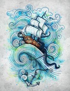 Ship tattoo sketch