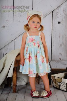 3 Piece Molly Dress, Bloomer and Head Scarf by Ginger & Louise