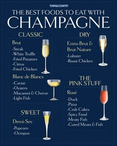 A chart of food pairings for champagne # Food and Drink pairing The Best Foods to Pair with Champagne Wine Tasting Party, Wine Parties, Alcohol Drink Recipes, Wine Recipes, Wine Drinks, Alcoholic Drinks, Beverages, Comment Dresser Une Table, Wine Chart