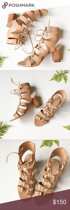 """Loeffler Randall Lace Up Gladiator Heel Sandals New! Leather sandals with stacked 3"""" heel. Lace up detail. A little scratch on the leather seen in one photo. Loeffler Randall Shoes Sandals"""