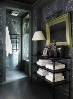 "Green marble bath: March 2011 issue of Architectural Digest, -A Manhattan ""Versailles in the Sky"" designed by the Michael Smith. Architectural Digest, Bathroom Interior, Modern Bathroom, Masculine Bathroom, Green Marble Bathroom, Master Bathroom, Black Bathrooms, Bathroom Vintage, Marble Bathrooms"