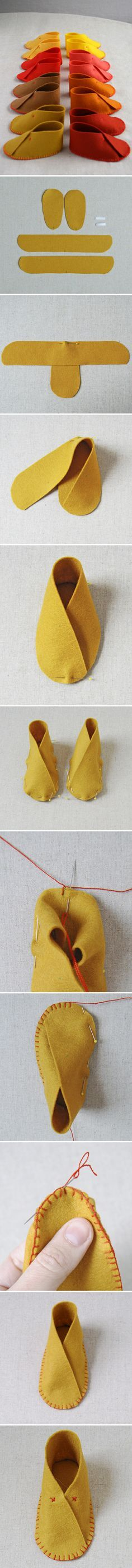 Schoen maken uit vilt