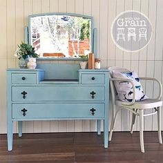 SOLD -- She's done! Pretty little vintage dresser in a lightened duck egg blue with a timber top. Would look gorgeous in a little girls room or even with a chair in front as a makeup dresser. {$299} local pick up #Brisbane #qld #queensland #antique #tigeroak #silkyoak #furniture #womenwhodiy #furniturerestoration #recycledfinds #restoredfurniture #paintedfurniture #ascp #chalkpaint #anniesloanchalkpaint