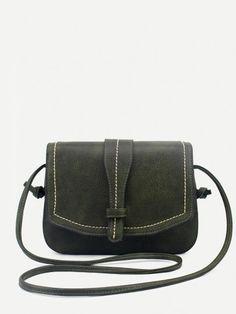 Green Faux Leather Saddle Bag
