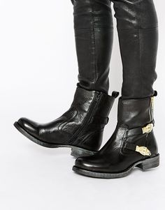 Ravel Strap Leather Ankle Boots