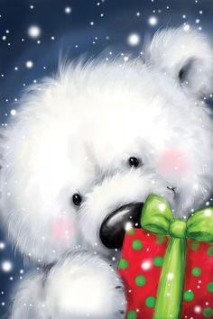 Polar Bear Christmas, Christmas Rock, Christmas Animals, Christmas Pictures, Vintage Christmas, Christmas Crafts, Snowmen Pictures, Illustration Noel, Christmas Illustration