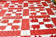Bear Paw Red Vintage Quilt by Objects of Affection